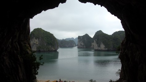 View of islands from a cave