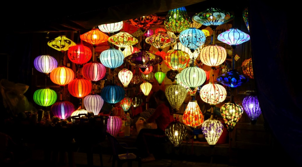 lamp shop lit up
